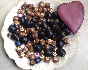 Destash Wooden Beads Mixed Large Hole Bead Lot Supplies DIY Collection