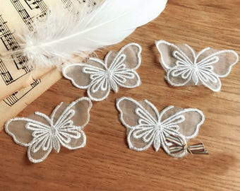 7*3.7cm  30pcs  ivory organza butterfly embroidery lace appliques patches L14M141 free ship