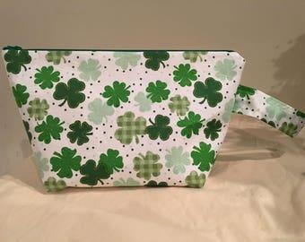 Knitting Project Bag, Sock Bag, Project Bag, Small Project Bag, Zipper Bag, WIP, St. Patricks Day Project Bag, Shamrock Project Bag-Clover