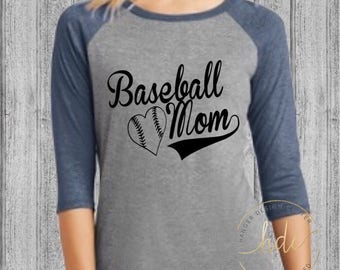 Baseball Mom Shirt/Womens Baseball Tee/Mom Baseball Shirt/Baseball Moms/Womens Baseball Tee/Baseball Mom Tee/Mom Sayings Shirt (Black Font)