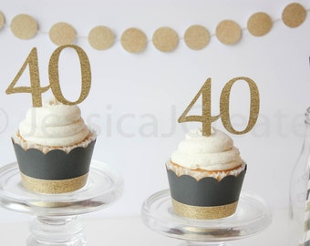 40th Birthday Cupcake Topper - 40th Party Decor - Cupcake Toppers - Black and Gold Party Decor - 40th Birthday