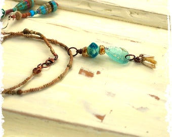 Roman Glass Pendant Layering Necklace Aqua Lampwork Rustic Boho One of a Kind Gift for Her Artisan