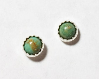 Sterling Silver Stud Earrings, 4mm Emerald Valley Turquoise, Free Shipping Domestic