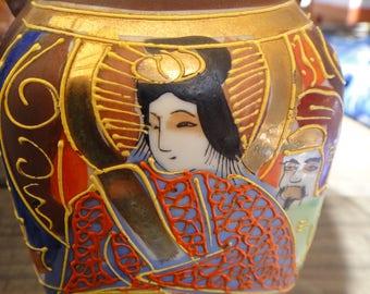 Antique Japanese Vase Hand Painted Moriage Satsuma Meiji Period