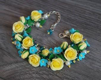 Handmade roses bracelet, Polymer clay flowers, Yellow roses jewellry, Flowers bracelet, Floral jewelry
