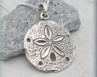 Silver Sand Dollar Necklace Sanddollar Pendant Sterling Silver Beach Necklace Beach Jewelry Ocean Necklace