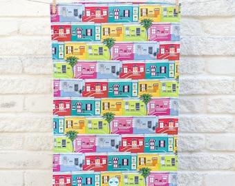 Colourful Cape Town Houses tea towel