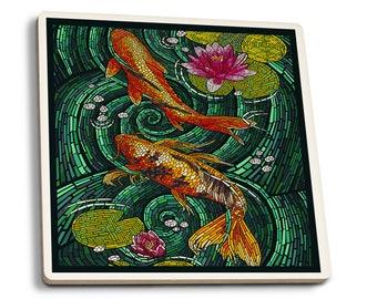 Koi - Paper Mosaic - LP Artwork (Set of 4 Ceramic Coasters)