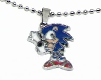 "Sonic the Hedgehog Necklace 18"" Stainless Steel Ball Chain"