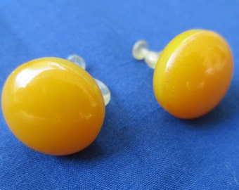 Rare Vintage Celluloid Button Earrings with Celluloid Screw Backs