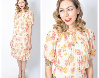 Vintage 1930's Floral Chiffon Dress With Puff Sleeves/ 30's Floral Day Dress Size Small