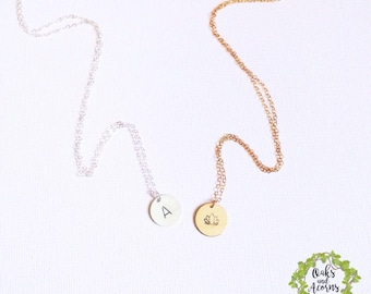 Personalized Disc Necklace, Initials Disc Necklace, Bridesmaid Gift, Family Necklace, Initial Personalized Jewelry, Silver, Gold, Gift