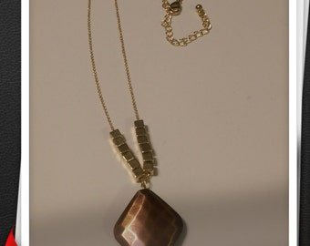 Chain necklace - Gold toned with Brass plated Diamond symbol
