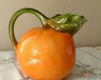 Orange Pitcher, Round Ceramic Serving Pitcher, Looks Like An Orange, Green Leaf Handle and Pour Spout, Made In Japan, Vintage Kitsch