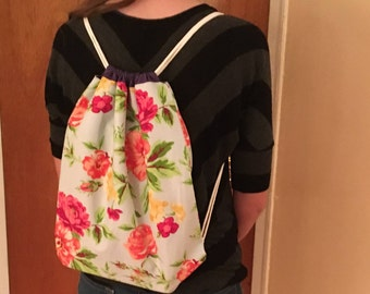 Floral Drawstring Bag with Purple Lining