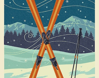 Whitefish, Montana - Crossed Skis - Letterpress (Art Prints available in multiple sizes)