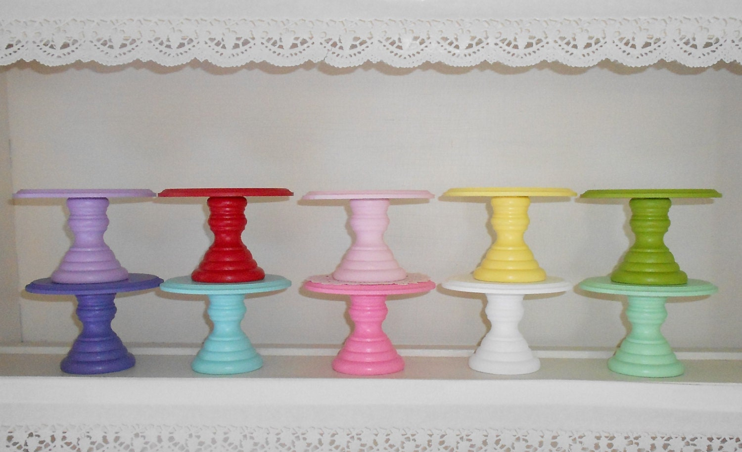 🔎zoom & Wood cupcake or mini cake stand pedestal choose your color