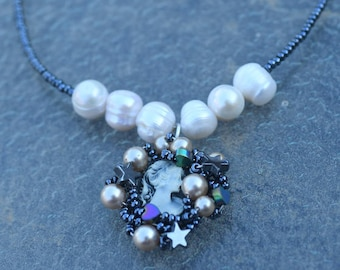 Modern Beaded Cameo Necklace