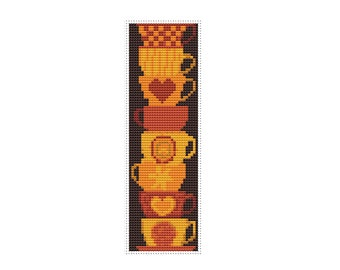 Stack of Cups Bookmark Cross Stitch Pattern PDF, Cups Cross Stitch Chart, Stitch a Bookmark, Art Cross Stitch, Embroidery Chart