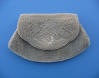 1950's Vintage Beige Beaded Purse ~ Small Clutch Evening Bag, Purse ~ 8 Inch By 5 Inch ~ Good Condition, Perfect for A Phone