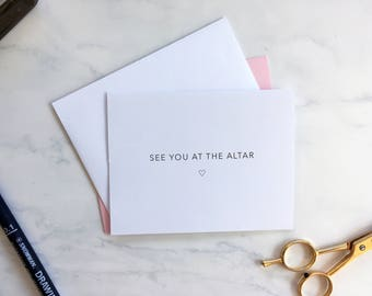 See you at the Altar - Minimalist Wedding First Look Card