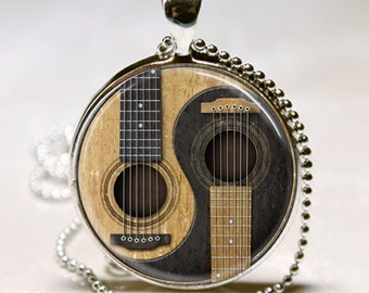 GUITAR Necklace Acoustic Guitar Yin Yang Symbol Musician Gift Guitar Charm Pendant