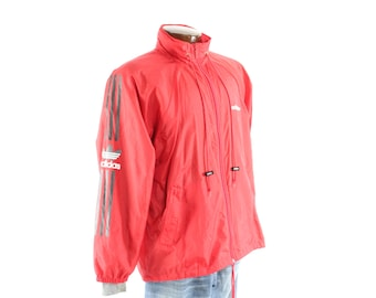Vintage 90s ADIDAS Track Jacket Trefoil Windbreaker Zipper Red Nylon 1990s Mens Outerwear Large L Medium M