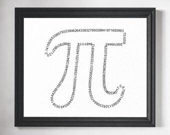 Math Art Print - Math Teacher Gift, Math Gift, Math Poster, Math Art, Pi Art, Classroom Decor, Mathematics, Math Print, Math Geek, Pi Print