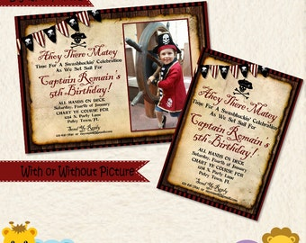 Pirate Invitation • Pirate Birthday Invite • Old Map • Skull and Bones • Pool Beach Party • Captain • Picture • Red black white • 031A