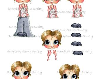 INSTANT DOWNLOAD Digital Digi Stamps Kerri 3D Decoupage kit Besties Big Head Dolls Digi By Sherri Baldy