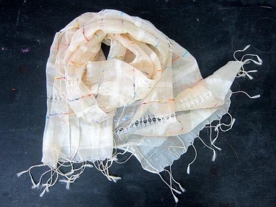 Sheer Scarf Creamy Off White Gauzy Neck Scarf Tie Sash Women's Spring Fringe Boho Chic Scarf