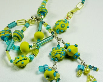 BirdDesigns Sterling Silver Lampwork Necklace - ooak - J565