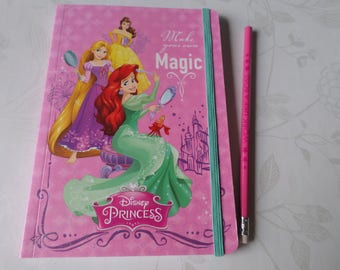 x 1 notebook A5 pattern glitter Princesses 80 sheets + 1 pencil