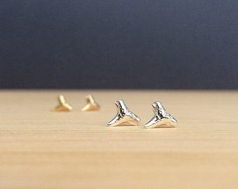 shark tooth earrings | shark teeth studs | sterling silver | bronze | everyday earrings