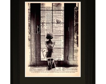 "Wish"".Dictionary Art Print. Vintage Upcycled Antique Book Page. Fits 8""x10"" frame"