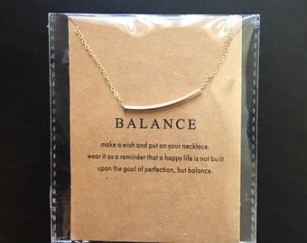 Gold bar necklace, balance necklace