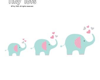 Vinyl Wall Decals-Elephant Wall Decals, Nursery Wall Decals, Wall Stickers, Children's Wall Decals-te05