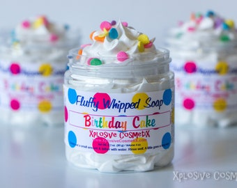Fluffy Whipped Soap - Birthday Cake - Soap, Body Wash, Vegan Friendly, Vanilla, Buttercream, Rainbow Sprinkles, 4 oz.