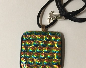 Dichroic with greens and gold fused glass pendant