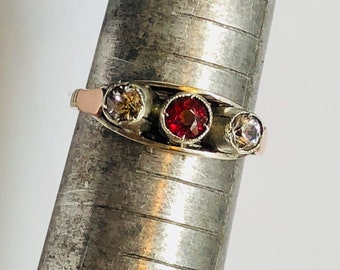 Antique Edwardian 9K Rose Gold and Sterling Silver Ruby and Diamond Paste Trilogy Ring Size 6.5