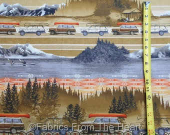 Parks & Recreation Camping Teardrop Trailer Outdoors Border BY YARDS QT Fabric