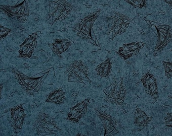 Quilting Treasures - Sea Treasures - Dk Blue Sailboat Toile