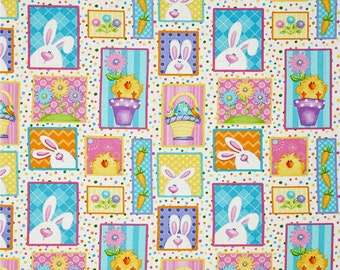 Fat Quarter The Sweetest Springtime Easter Bunny and Chick Patchwork Fabric