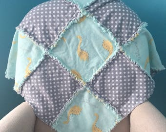 Green and Gray Rag Quilt / Flannel Baby Boy Quilt / Crib Rag Quilt
