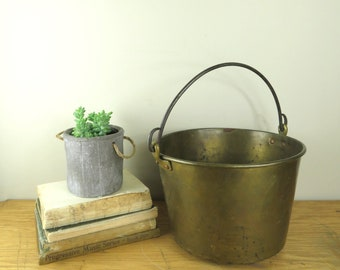 Vintage Brass Bucket with Bail Handle