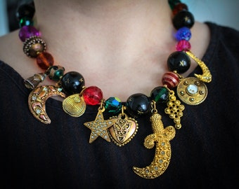 Carnivale Mystic • One of a kind vibrant tarot charm necklace with colorful vintage beads