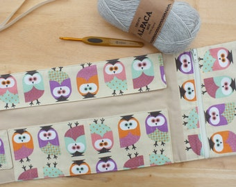 Owl Crochet Hook Roll Up Case With Pouch, Storage Organizer, Hook Holder