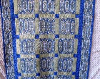 Blue Green Quilt Wallhanging Throw Vintage Handmade Patchwork 62 x 42 Shabby Romantic Chic Farmhouse Country Cottage Rustic
