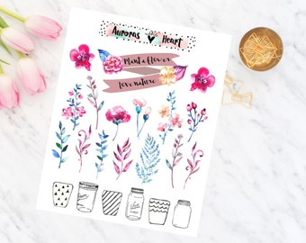 Plant a flower soft watercolor planner stickers boho
