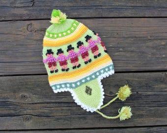 Alpaca Blend Baby Earflap Hat with PomPoms - Peruvian Designs - 3-9 months